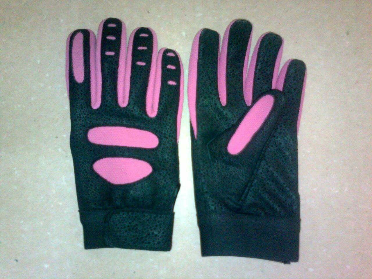 Black leather batting gloves - Standard Quality Pink And Black Colour Batting Gloves Made From Sheepskin Leather
