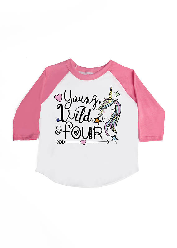 Kids Raglans Tee Shirts And Tank Tops Perfect For The Birthday Girl Or Boy Unicorn Fourth