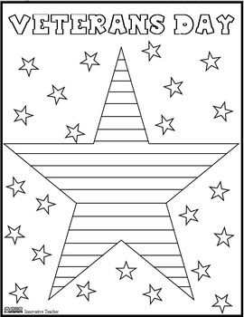 veterans day coloring page freebie