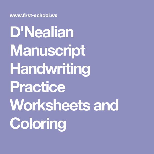 Dnealian Manuscript Handwriting Practice Worksheets And Coloring