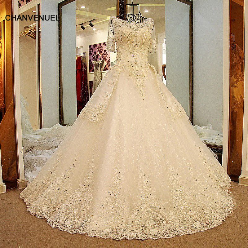 Click To Buy LS54420 Glitter Wedding Dresses Short Sleeves Lace Up Back