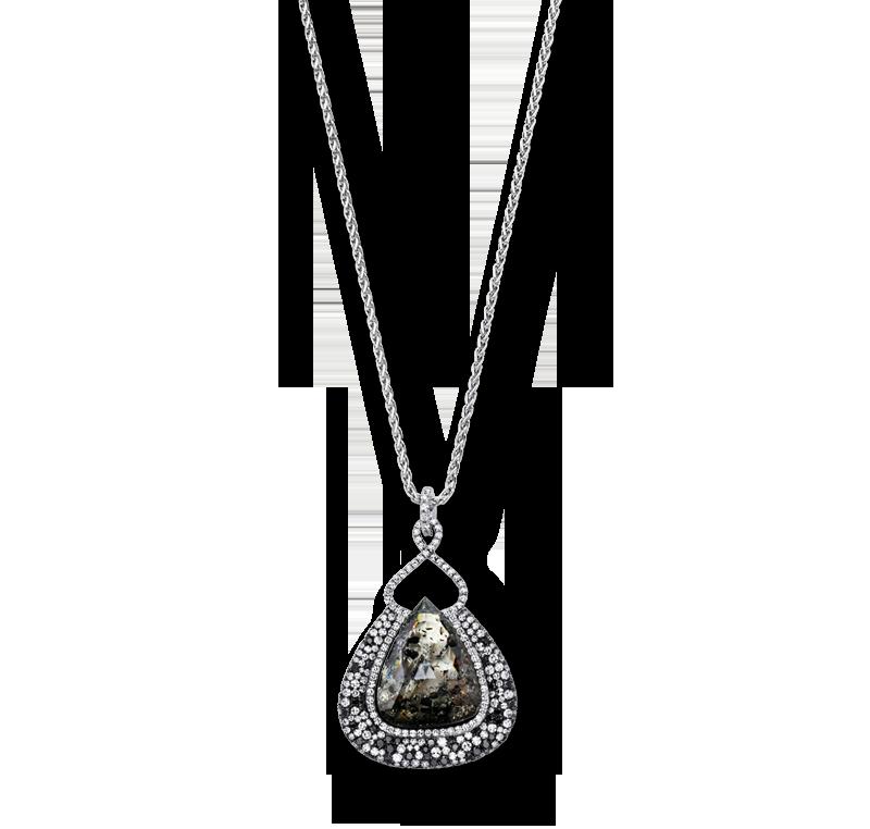 "10.64 CARAT ""ICY"" BRIOLETTE DIAMOND BORDERED  BY MICRO SET BLACK AND WHITE DIAMONDS - Pendants | Martin Katz"
