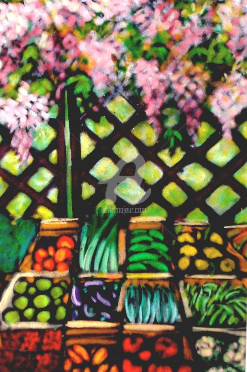 Sous la glycine,  marché provençale - Disegno,  30x30 cm ©2004 da Gwendoline Pieters -                              Colori, Les vignes, domaine du Paternel, Cassis