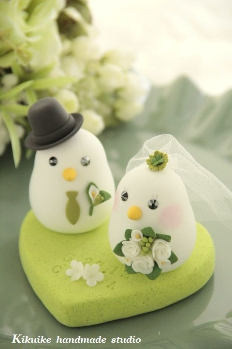 Wedding Cake Topper-love bird with sweet heart base in 2018 | Clay ...