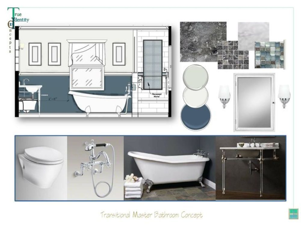 Bathroom Design Board master bath/suite concept #moodboard #sampleboard created using