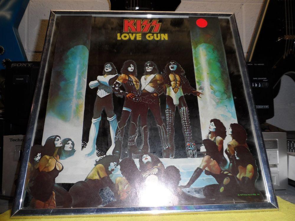 Vintage KISS Love Gun 1977 Official Mirror Aucoin Gene Simmons Ace Frehley Rare!