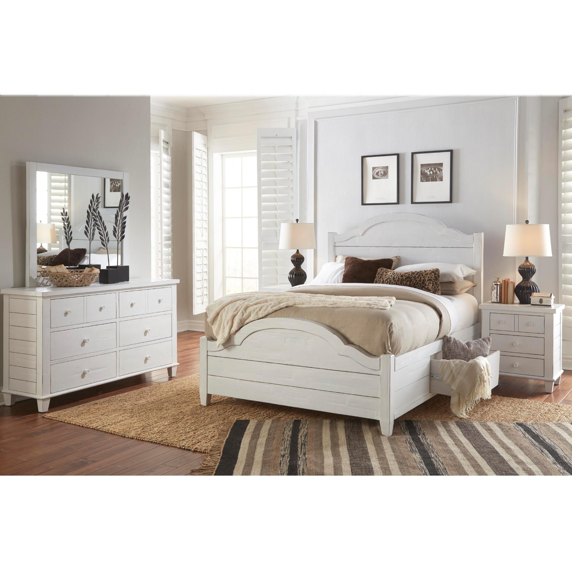 5 Piece Queen Bedroom Set In Distressed White Dynamichome Bedroom Set White Co Bedroom Furniture Stores Bedroom Sets Furniture King King Bedroom Furniture