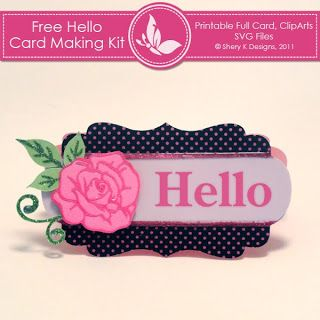 Free Hello Card Making kit (Great curvy SVG shape for cards/labels). #Silhouette #Cricut #SVG #MTC