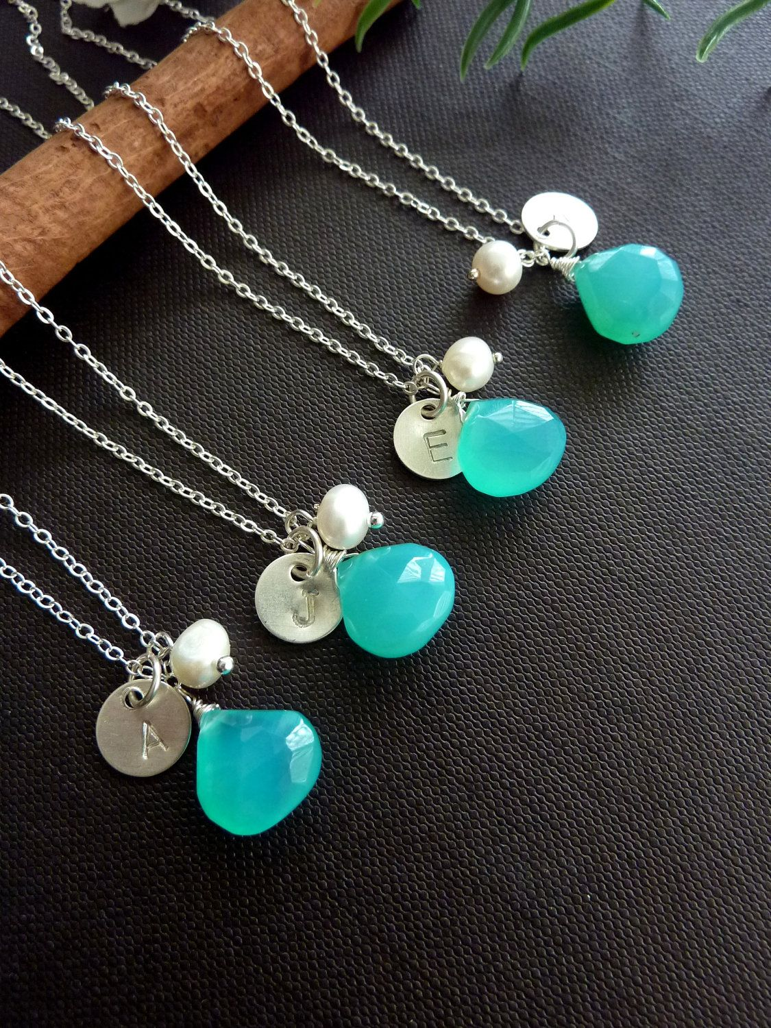 SET of 4 - Turquoise Blue Chalcedony, Sterling Silver Initial Disc, Pearl Necklace in Sterling Silver Chain. $135.00, via Etsy.