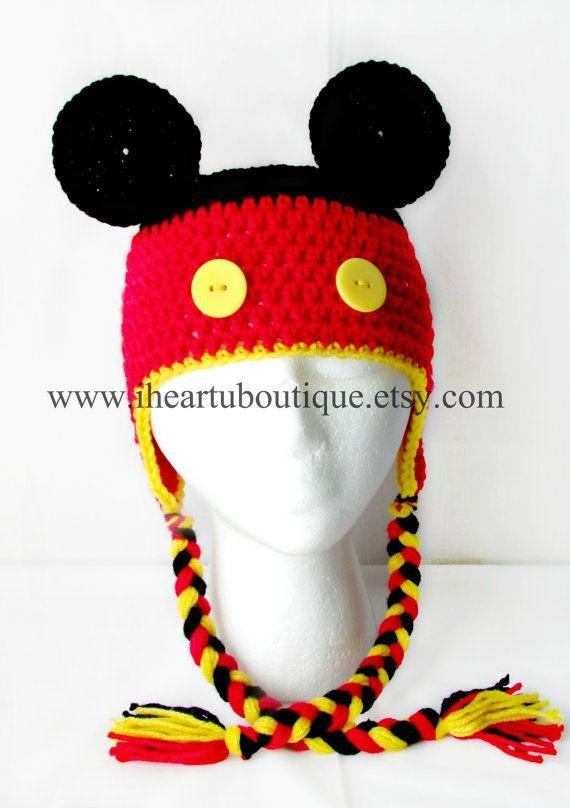 Mickey mouse crochet hat | Heiða | Pinterest | Croché, Gorro tejido ...