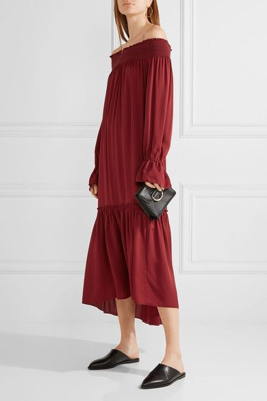 ed4aa111a00 Theory - Off-the-shoulder Smocked Silk-jersey Midi Dress - Claret - small