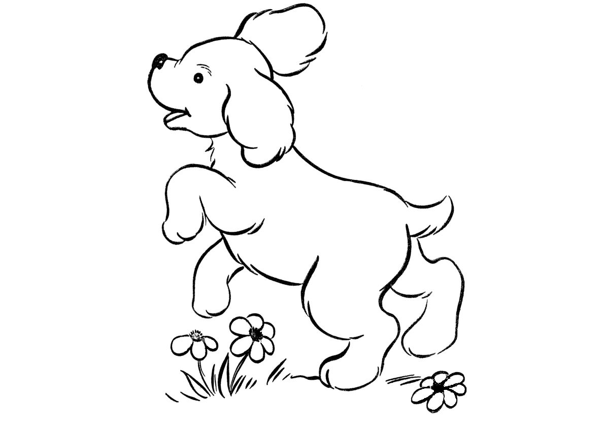 Puppy On The Lawn High Quality Free Coloring Page From The Category Dogs And Puppies More Printable Pi Puppy Coloring Pages Coloring Pages Dogs And Puppies