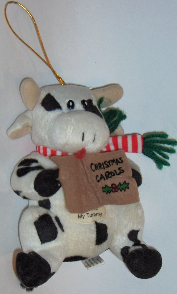 Christmas Carol Singers Ornaments.Singing Christmas Cow Ornament Christmas Carols Moos