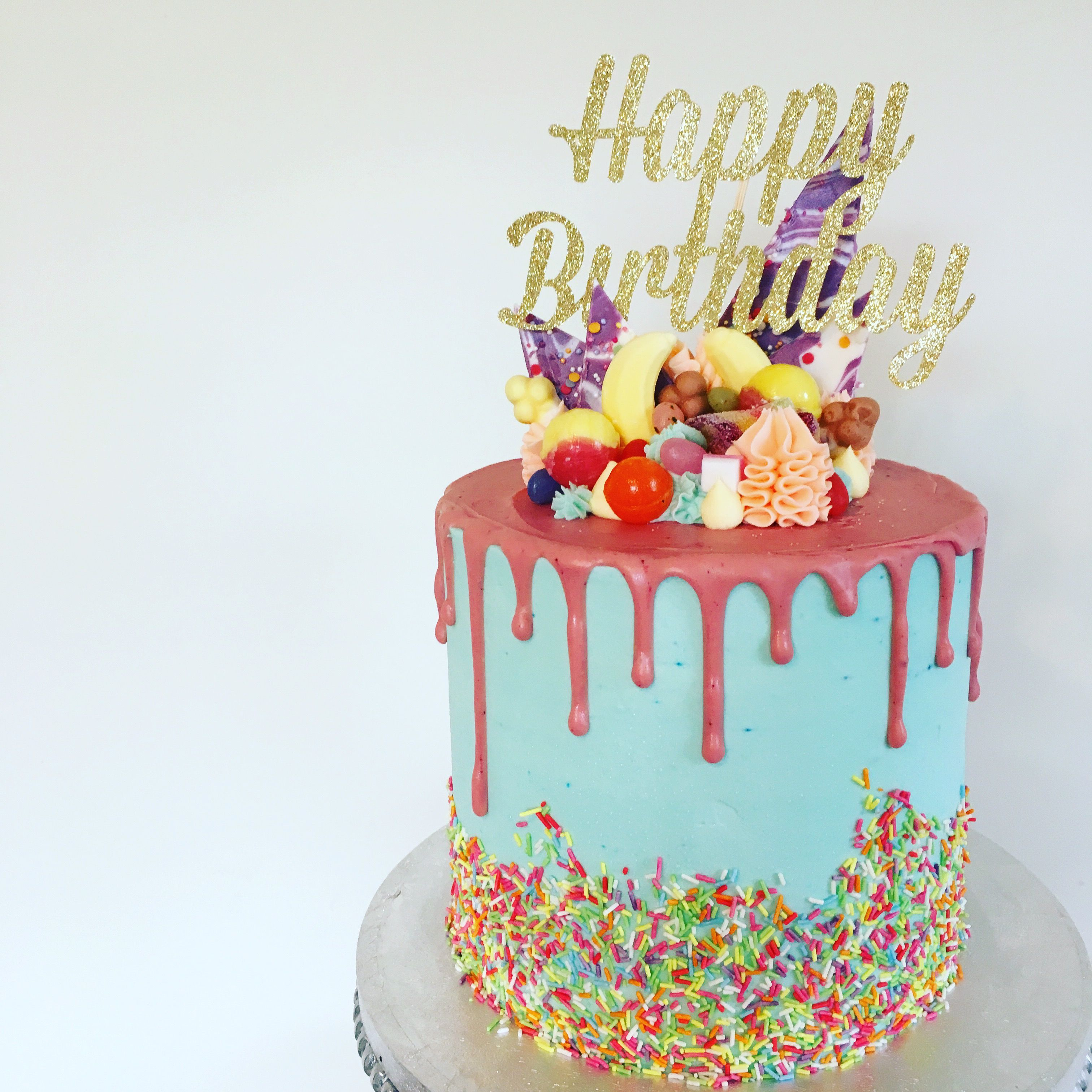 Classic Happy Birthday Drip Cake In Katherine Sabbath