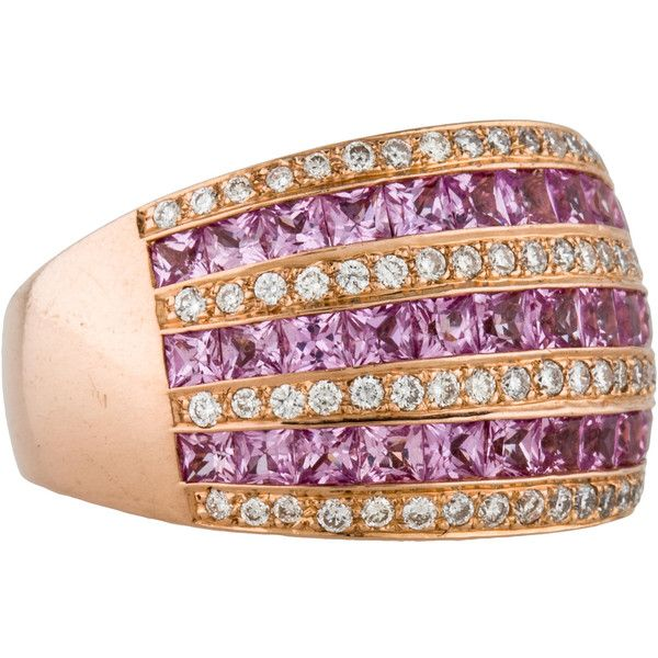 Pre-owned Le Vian Pink Sapphire and Diamond Ring ($1,295) ❤ liked on Polyvore featuring jewelry, rings, round ring, pre owned diamond rings, princess cut ring, le vian rings and diamond rings