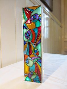Hand Painted Glass Abstract Design Glass Vase By