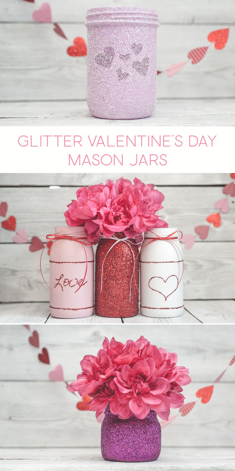 Valentine\'s Day Mason Jar Decor or Gift Jars | Pinterest | Mason jar ...