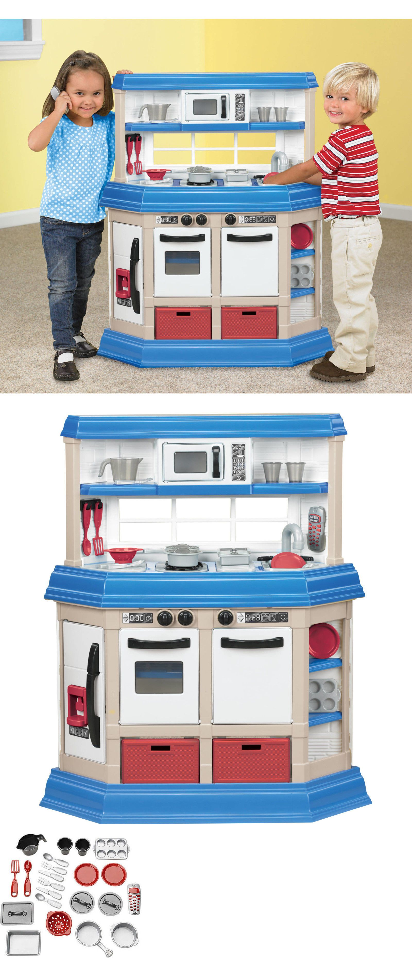 Toys for kids kitchen set  Kitchens  Kids Pretend Play Kitchen Playset Plastic Cooking