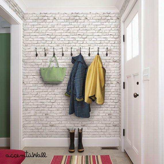 White Brick Wallpaper Aged Vintage Look Self Adhesive Fabric Etsy White Brick Wallpaper Wood Wallpaper Brick Wallpaper