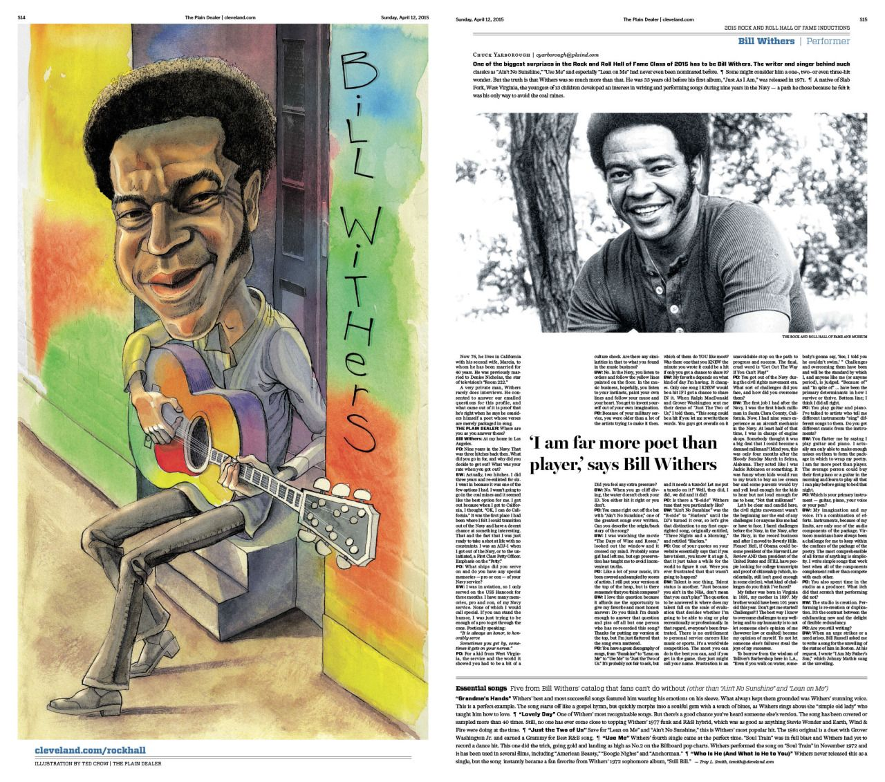 #BillWithers #RockHall2015 induction preview. Ted Crow, illustrator; Jane Mitchell, designer; David Kordalski & Josh Crutchmer, art directors