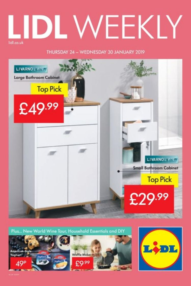 Lidl offers leaflet 24th 30th january 2019 large and small bathroom cabinet wine tour household essentials and diy and more special offers for you in