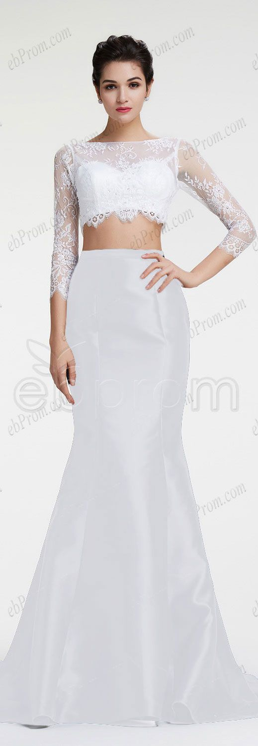 White long sleeve pageant dress.