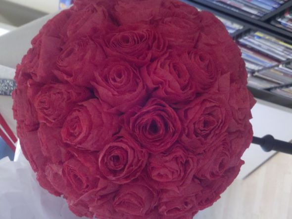 Red rose crepe paper pomander tutorial wedding ceremony crepe red rose crepe paper pomander tutorial wedding ceremony crepe paper flower diy flowers inspiration kissing balls paper flowers pomander reception red 2011 mightylinksfo