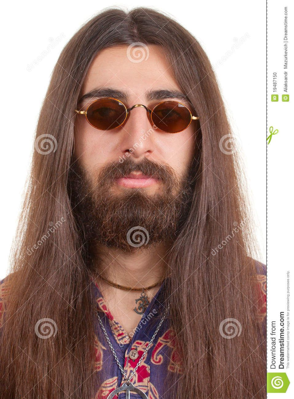long-haired hippie man stock