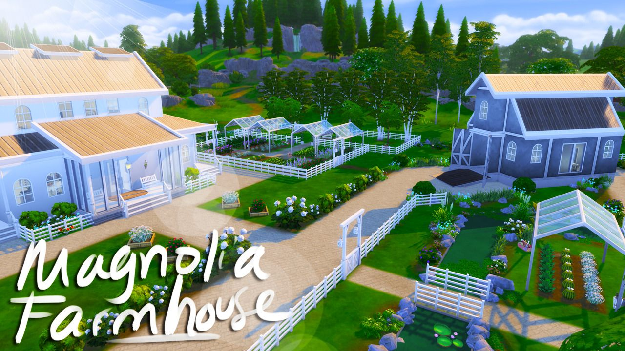 Magnolia Farmhouse Sims building, Sims house, The sims 4
