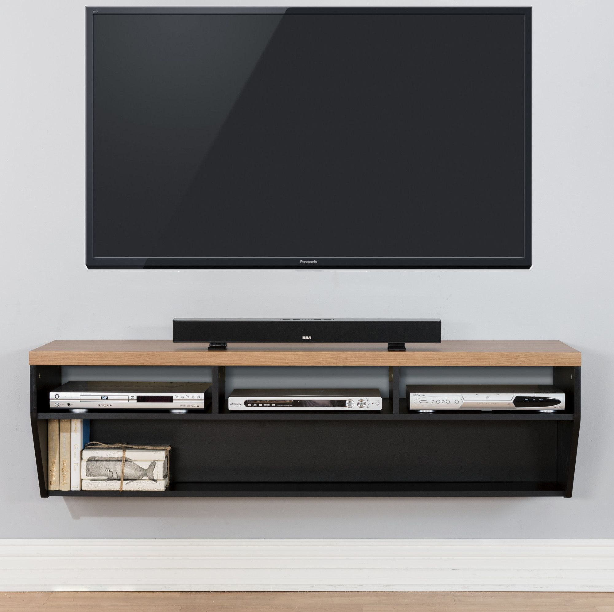 Panasonic Tv Meubel.60 Angled Sides Wall Mounted Tv Component Shelf Modern Floating