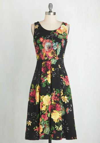 Floral at Its Finest Dress. You can never go wrong with a floral look, especially when it's as stunning as this black dress from Closet! #black #modcloth