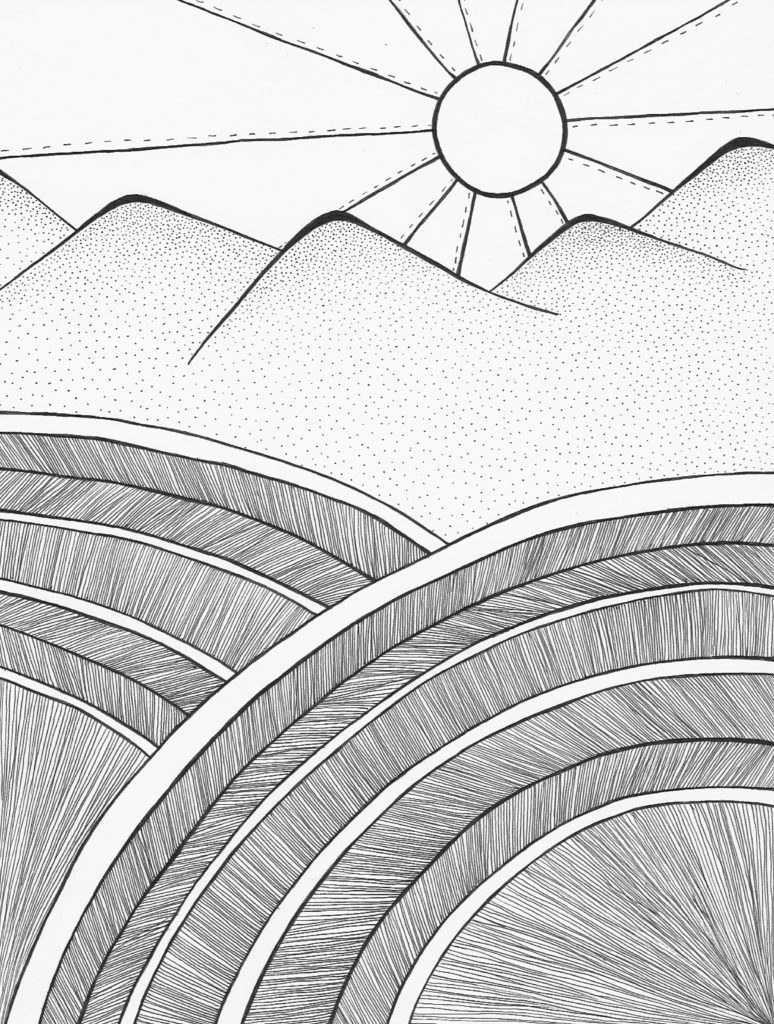Free Continental Sunrise Coloring Page Studio Inkcycle Coloring Pages Free Coloring Pages Abstract Artwork