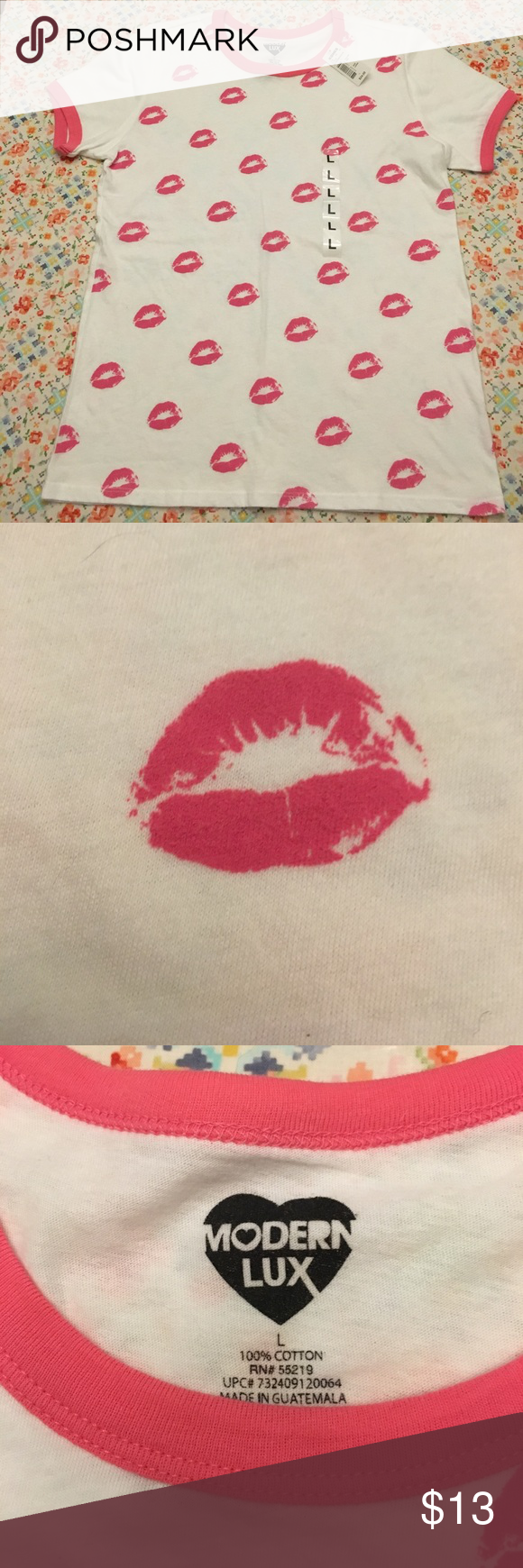 Modern Lux Kiss Lipstick T-shirt NWT Do you aspire to Wildfox status? Lipstick addict? Hopeless French kisser? White shirt with shoulder to shoulder kisses on front. Home of cute dog and no smoke. Modern Lux Tops Tees - Short Sleeve