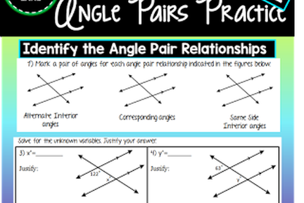 16++ Angle pair relationships practice worksheet Live