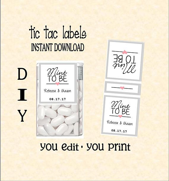Tic tac labels mint to be wedding do it yourself instant tic tac labels mint to be wedding do it yourself instant download you edit you print digital pdf file diy tic78815 solutioingenieria Gallery