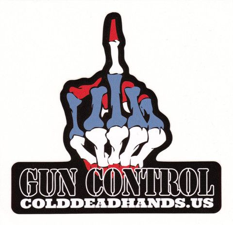 Cold Dead Hands Gun Control Skeleton Finger Decal. All of our decals start with extremely durable UV coated vinyl, then our custom created graphics are laid down in brilliant full color high definition processing, to create an amazing visual effect.  You will not be disappointed with these awesome decals.