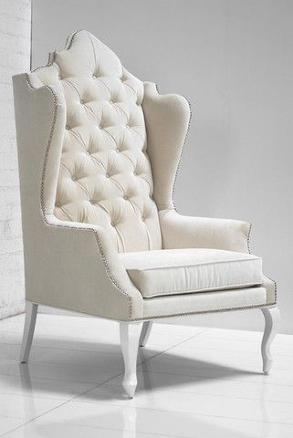 Gentil Casablanca Wing Chair In Off White Velvet