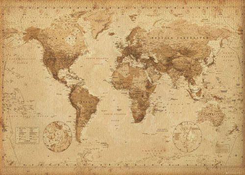 World Map Vintage Antique Style Giant Poster 100x140cm Wall Chart