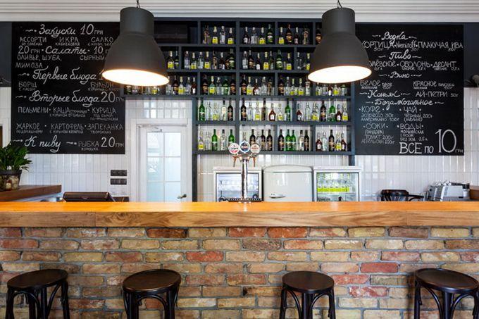 Brick Bar Front And Chalkboard Menu By Kley Design Kiev Ukraine