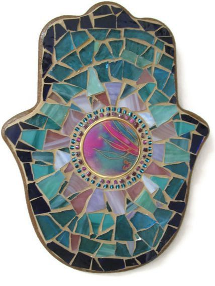 Hamsa Hand Good luck Charm Stained Glass Mosaic Wall Art ...