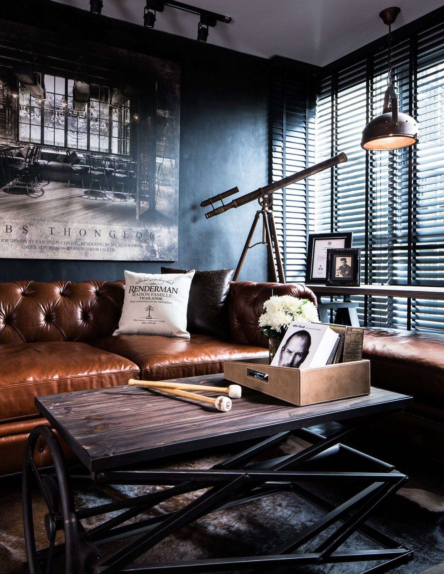 Up Close Look At Masculine Industrial Loft Design The Blinds On