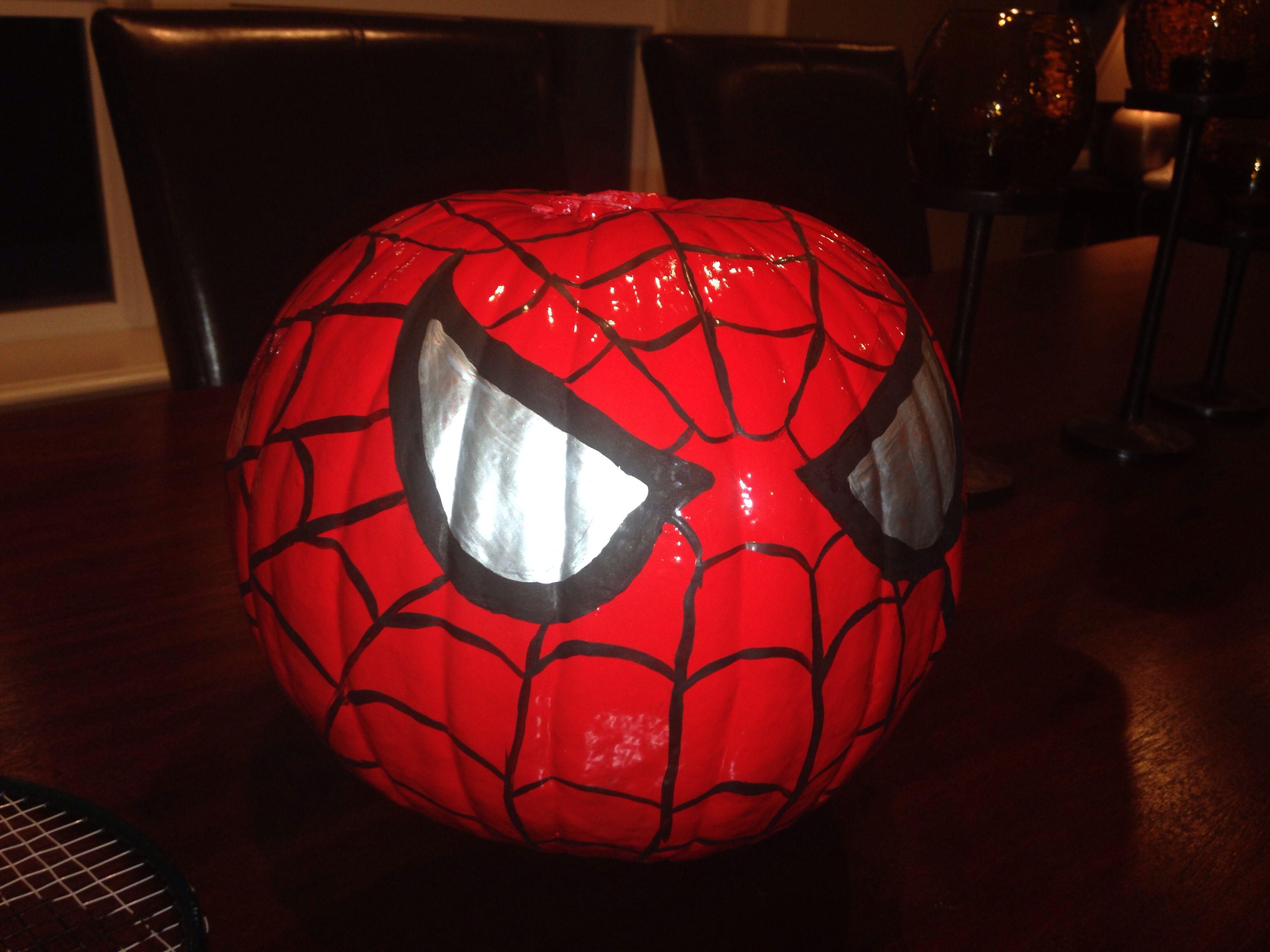 Spider-man painted pumpkin. Next time I'll use craft pumpkins so I ...