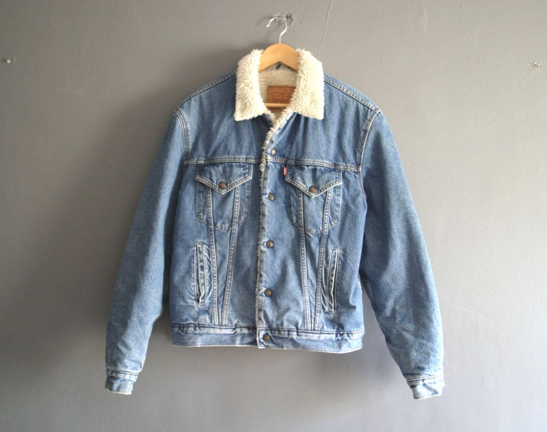 levis denim jacket with sheepskin fleece lining size l. Black Bedroom Furniture Sets. Home Design Ideas
