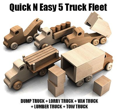 Quick Easy 5 Truck Fleet Wood Toy Plans Pdf Download