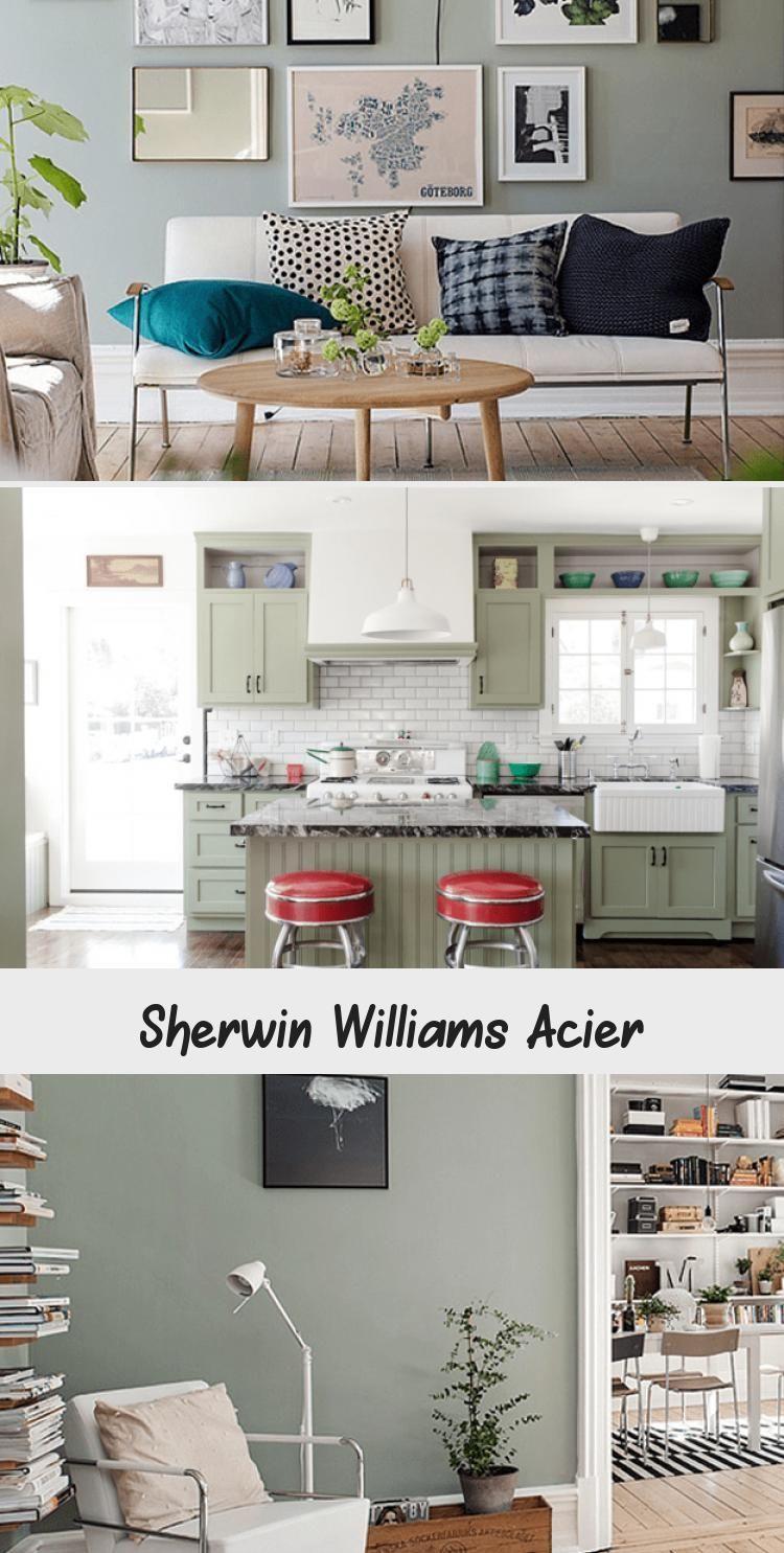 Sherwin Williams Acier Pinokyo Acier Pinokyo Sherwin Williams In 2020 Living Room Color Grey Walls Natural Wood Flooring #sage #green #and #grey #living #room