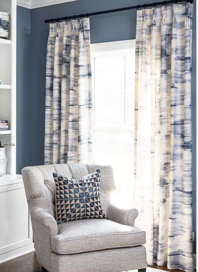 Blue White Curtains Gray White Drapes Curtain Panels Watercolor