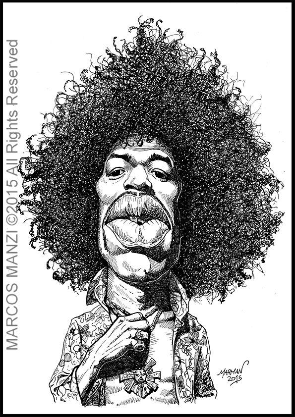 Caricatura de Jimi Hendrix (tinta china sobre cartulina) Jimi Hendrix Caricature