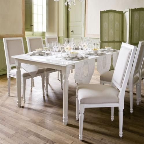 table a diner carree blanche louis