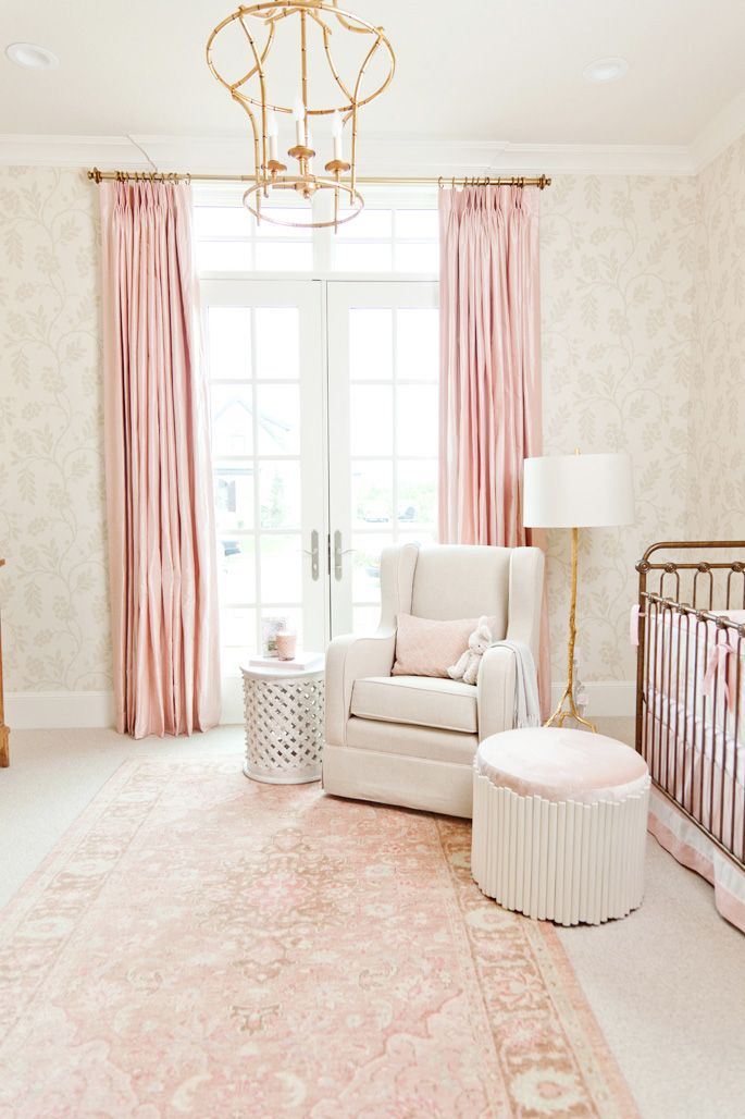 Pink Curtains Gold Chandelier White Rocking Chair And French Inspired Walls Of Nursery