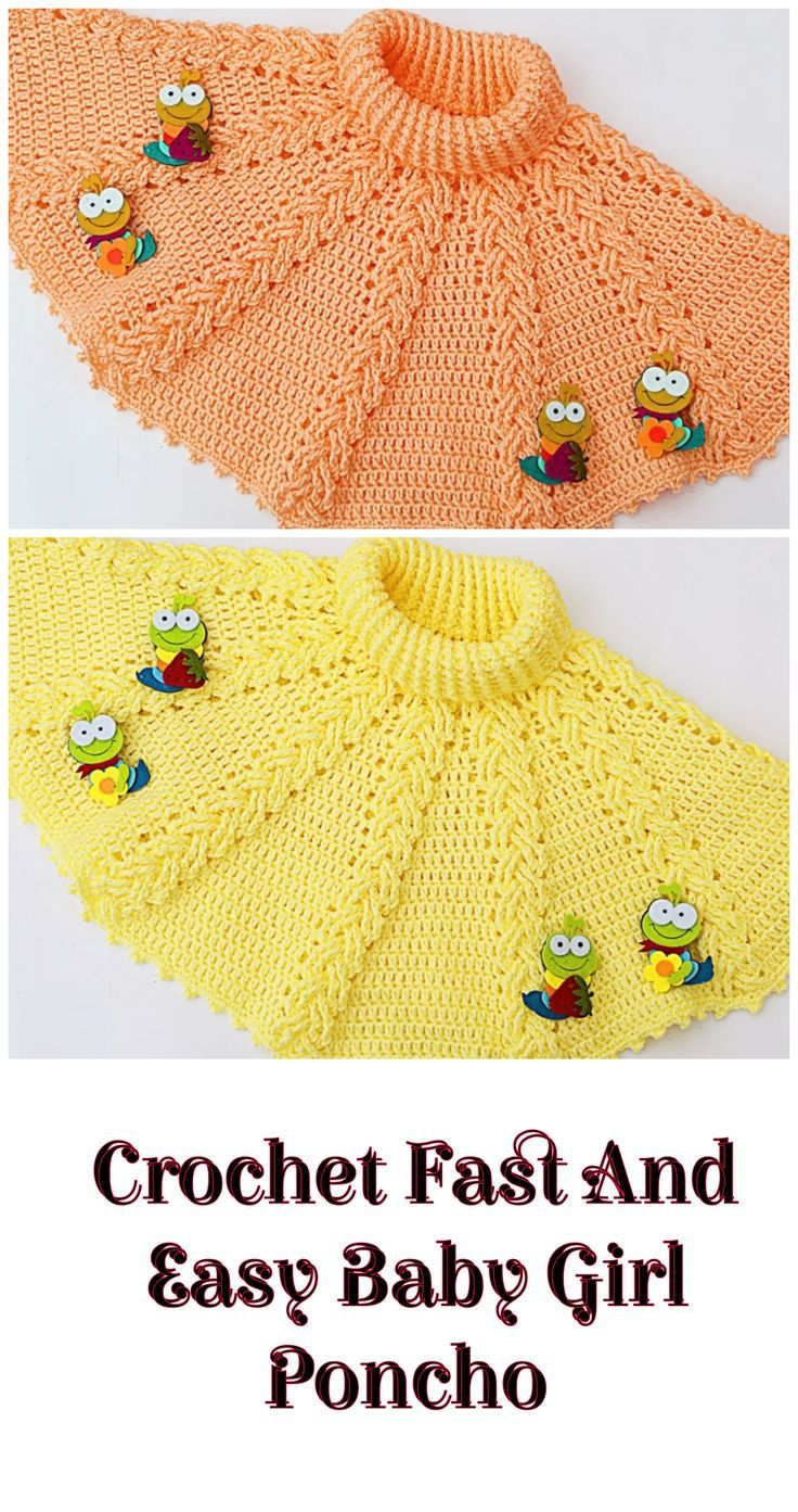 Crochet Fast And Easy Baby Girl Poncho - Crochet and Knitting Patterns #crochetmotif